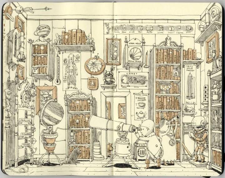 carnet croquis 05 720x570 Les carnets de croquis de Mattias Adolfsson  design bonus