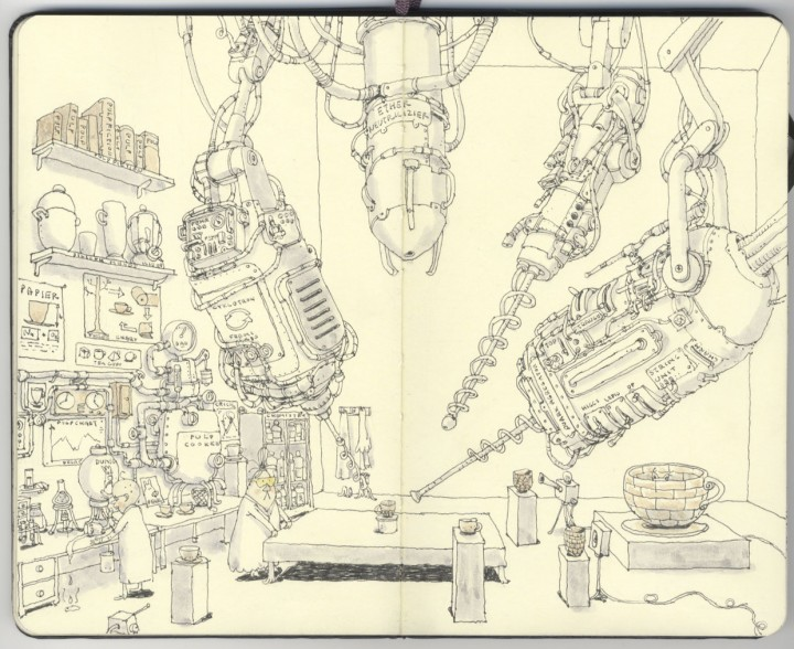 carnet croquis 14 720x588 Les carnets de croquis de Mattias Adolfsson  design bonus