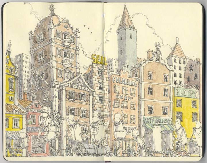 carnet croquis 15 720x566 Les carnets de croquis de Mattias Adolfsson  design bonus