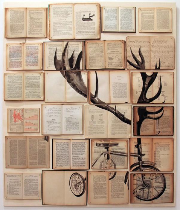 peinture livre 03 602x700 Des peintures sur des livres étalés peinture 2 bonus art