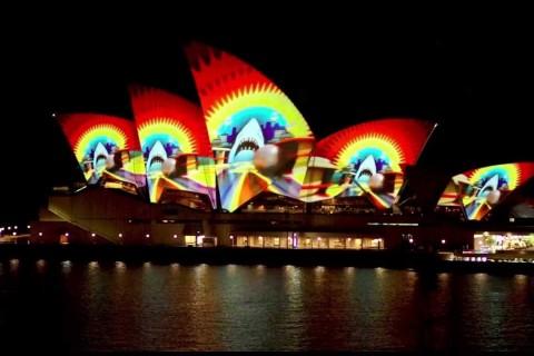 Projection sur l'opéra de Sydney