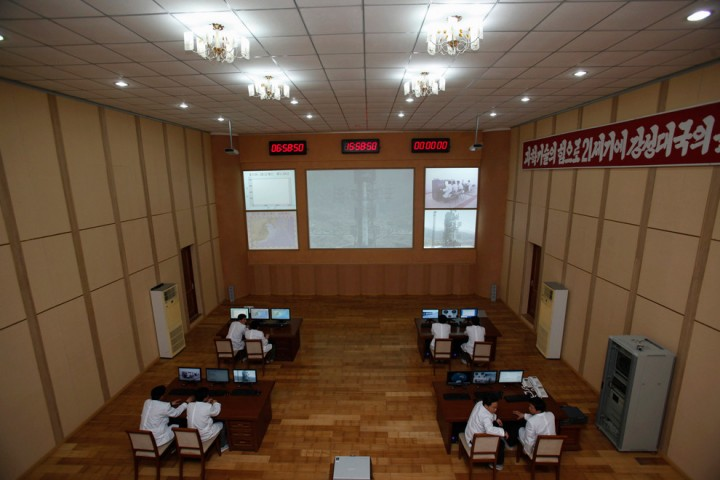 Unha-3 (Milky Way 3) rocket control room, West Sea Satellite Launch Site, Pyongyang, North Korea.