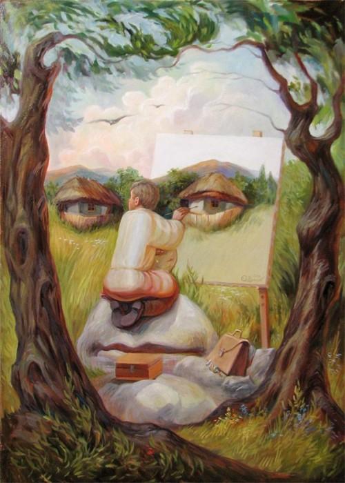 visage paysage 02 500x700 Des paysages anthropomorphiques  peinture 2 bonus art