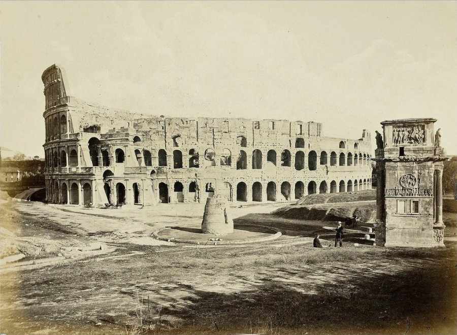 Rome Colosseum Meta Sudans and Arch of Constantine - 1860