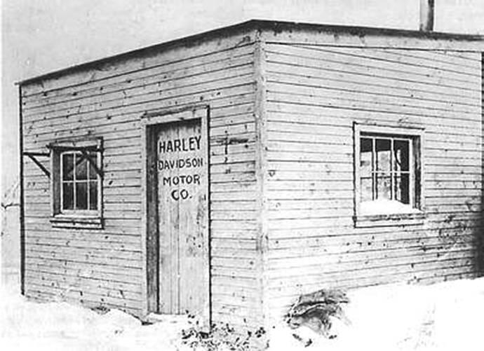 The first Harley-Davidson factory a tiny wooden shed in the Davidson family backyard in Milwaukee 1903