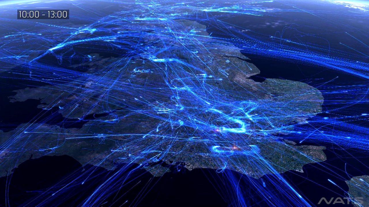 Les avions au dessus de la Grande Bretagne sur une journée