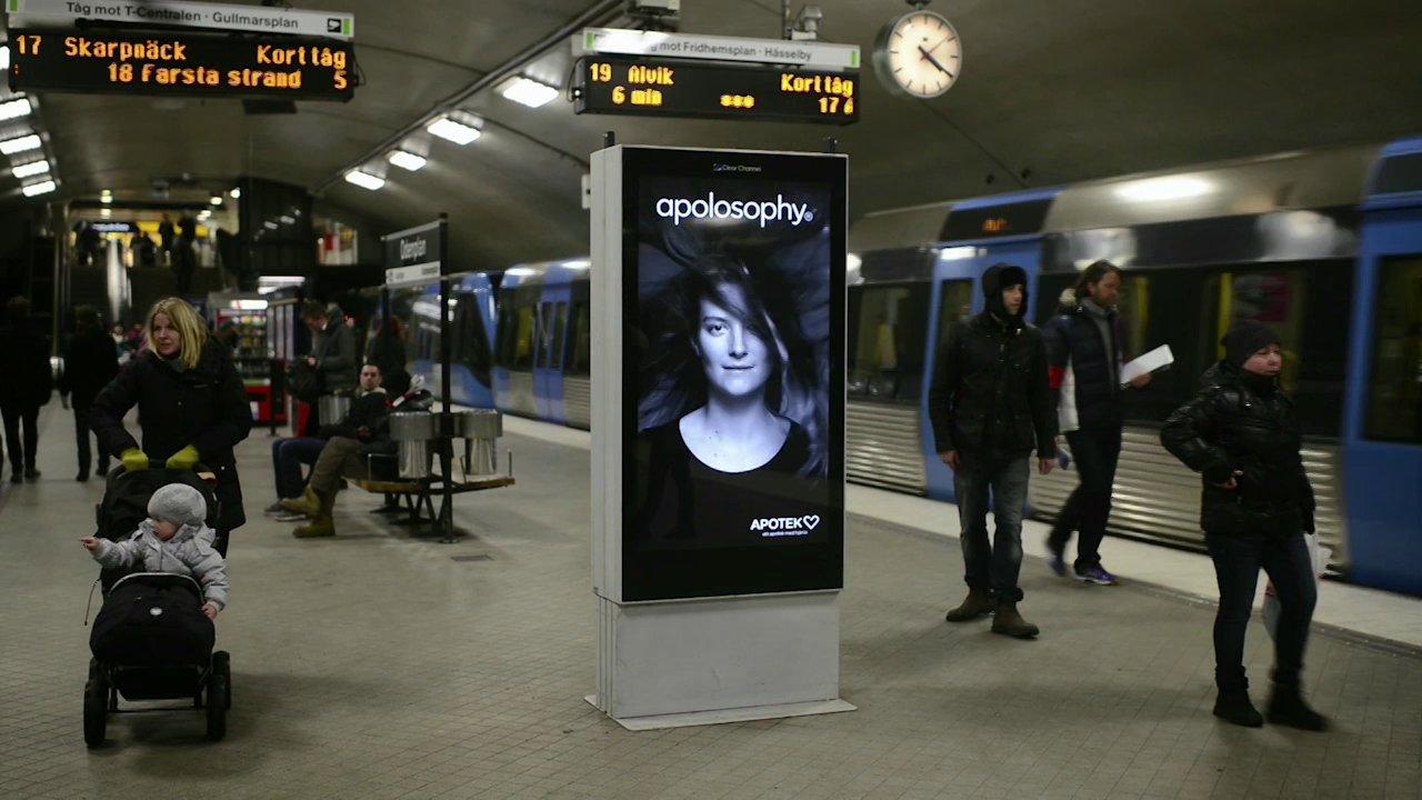 Une publicité dans le métro suédois