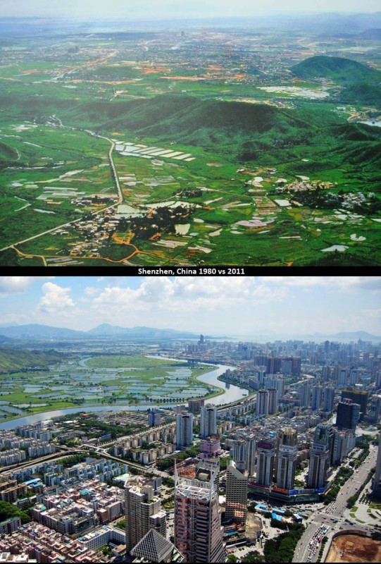 15 evolution shenzhen china then and now 30 years later 1980 vs 2011 541x800 Lévolution des grandes villes autour du monde