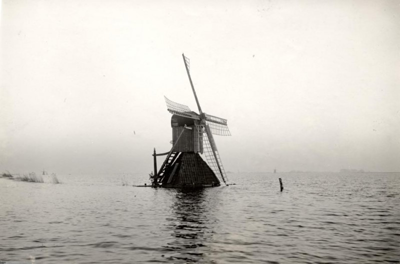 Dutch mill facing the flood of 1926. Grouw, the Netherlands
