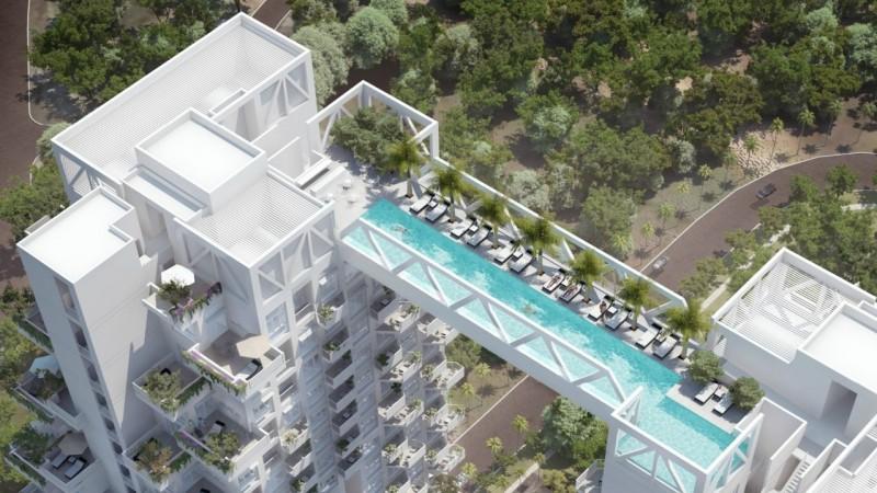 Un pont piscine entre deux immeubles for Piscine sollies pont