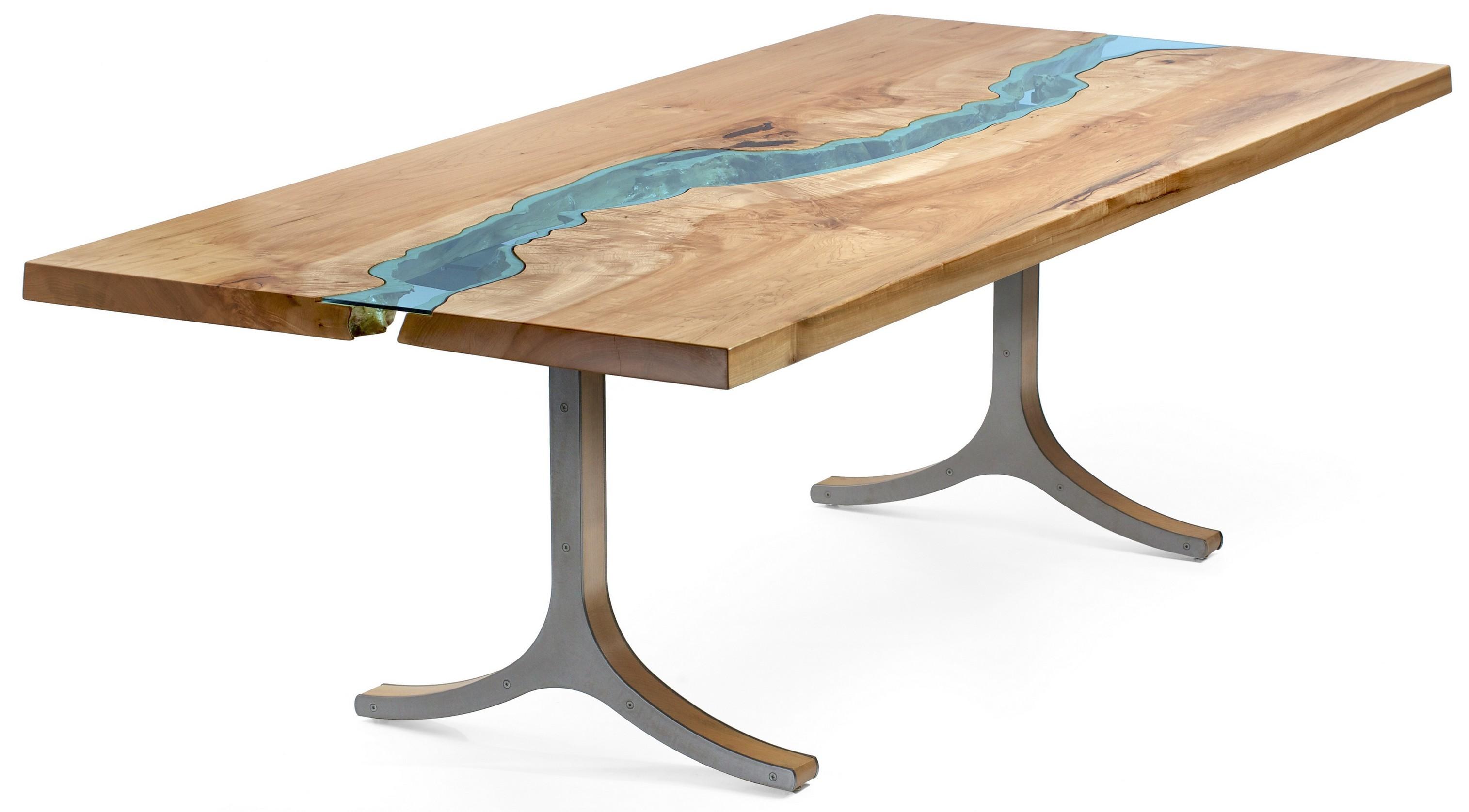Table bois verre riviere 01 la boite verte - Place du verre a eau sur une table ...