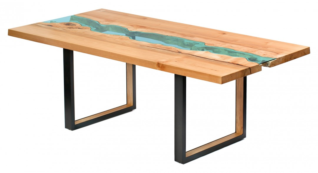 Table bois verre riviere 03 la boite verte for Tisch glas holz