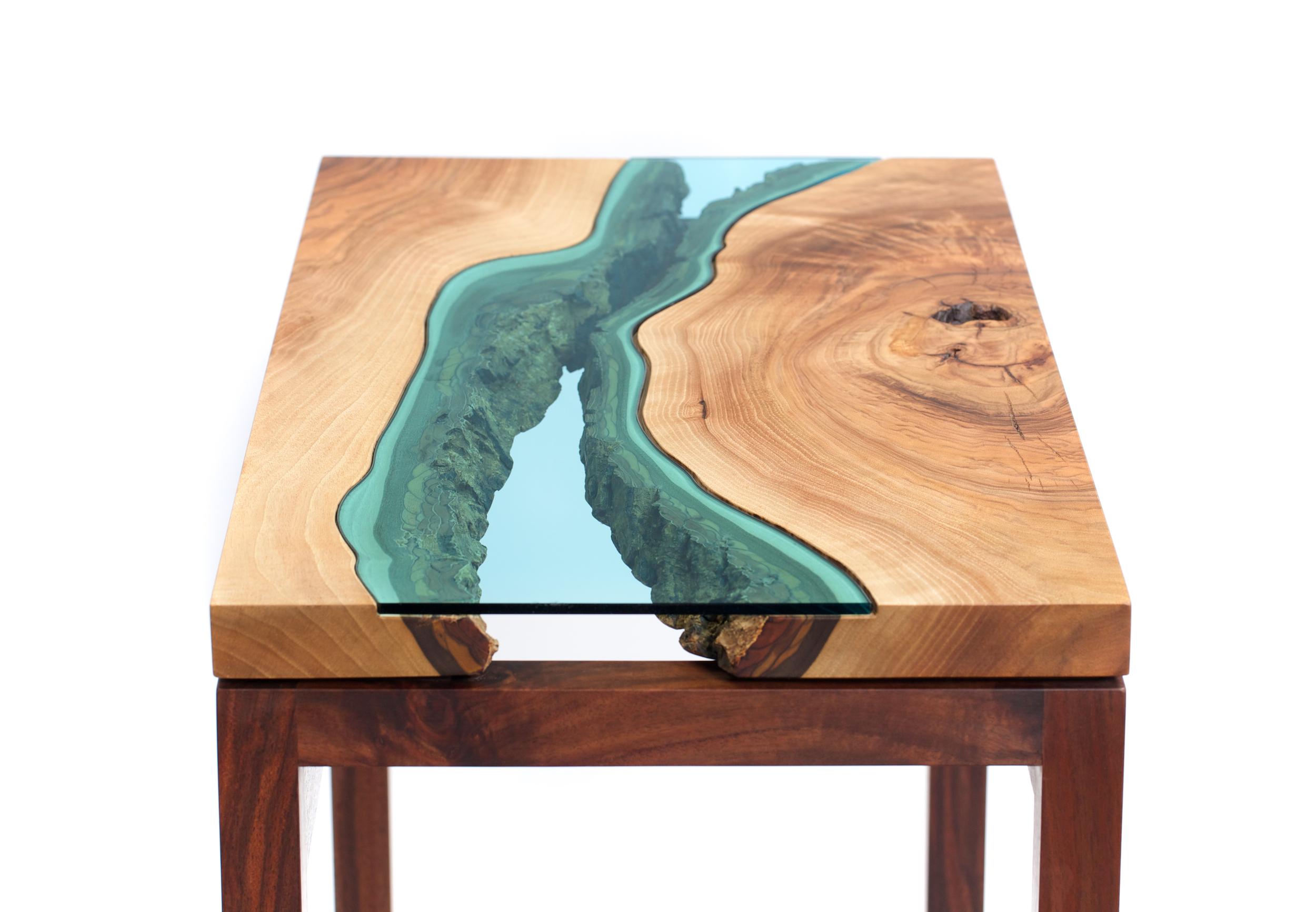 Table bois verre riviere 10 la boite verte - Place du verre a eau sur une table ...