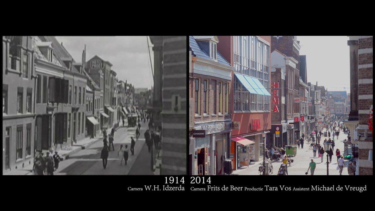 La ville d'Alkmaar aux Pays-Bas en 1914 et 2014