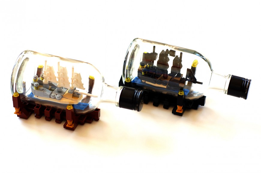 des bateaux en lego dans des bouteilles. Black Bedroom Furniture Sets. Home Design Ideas