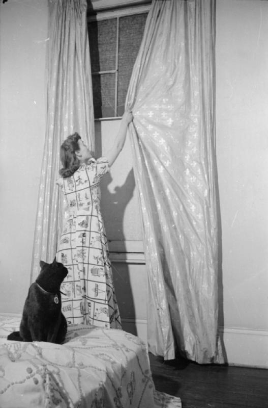 Mrs Olive Day ouvre ses rideaux, la fenêtre a été  cassée  par un raid aérien et remplacée par un tissu en lin.  Son chat  Little One la regarde depuis le lit.