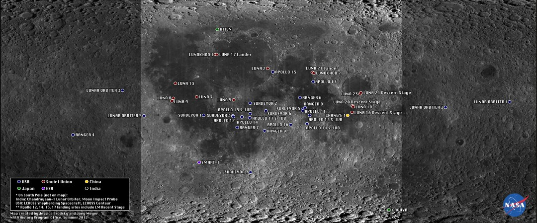 Tous les objets sur la Lune