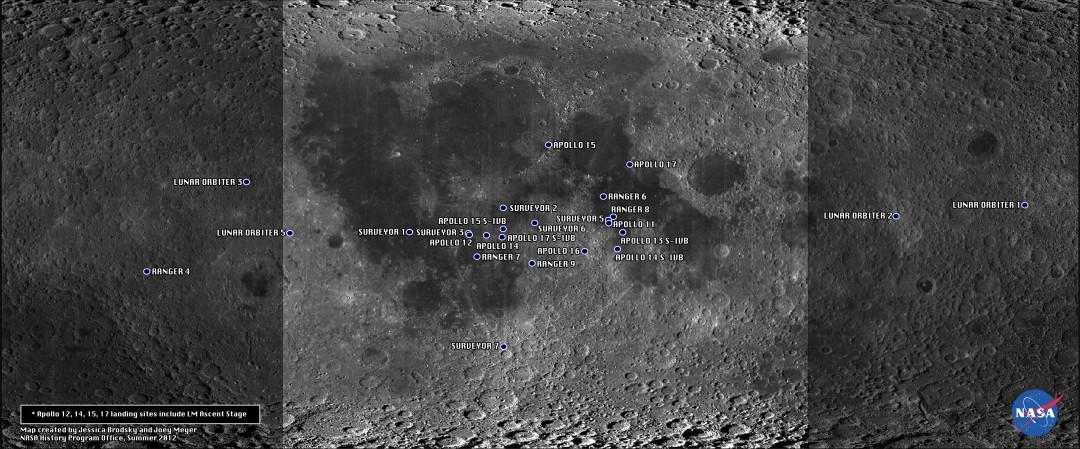Tous les objets américains sur la Lune