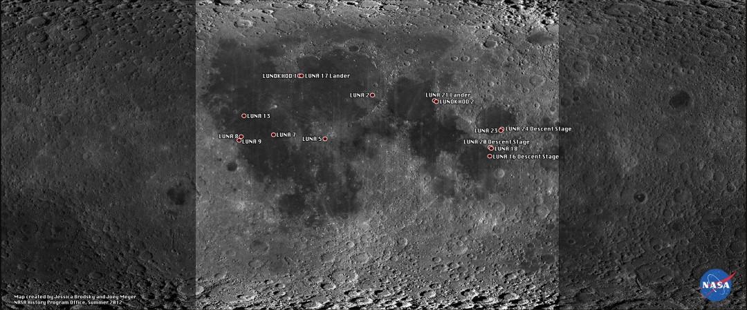 Tous les objets russes sur la Lune