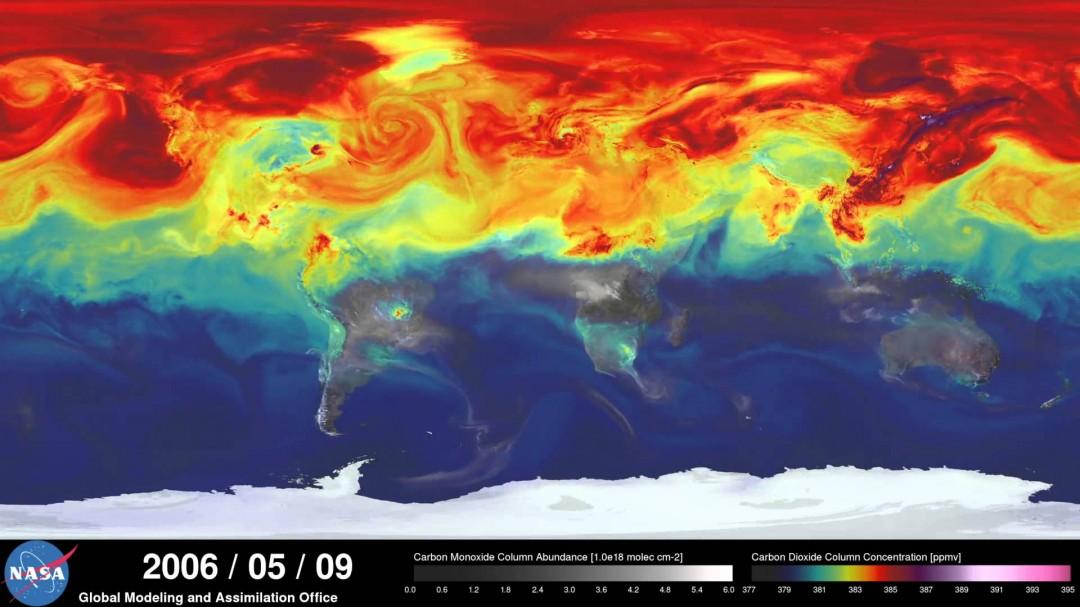 Comment le CO² se déplace sur la Terre en 1 an