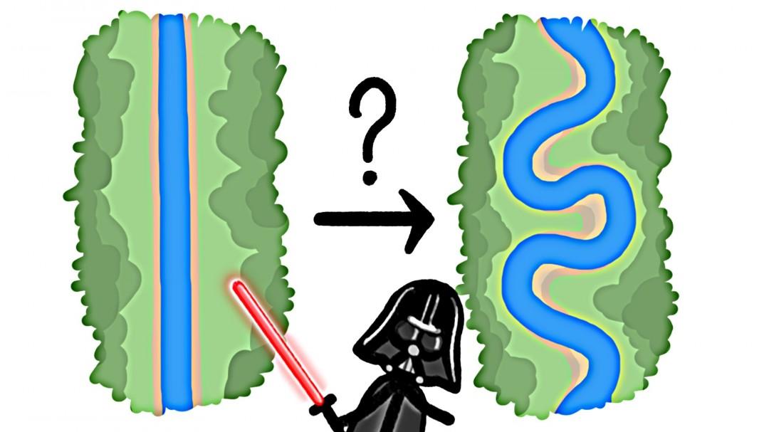 La longueur d'un méandre est égale à 6 fois la largeur d'une rivière