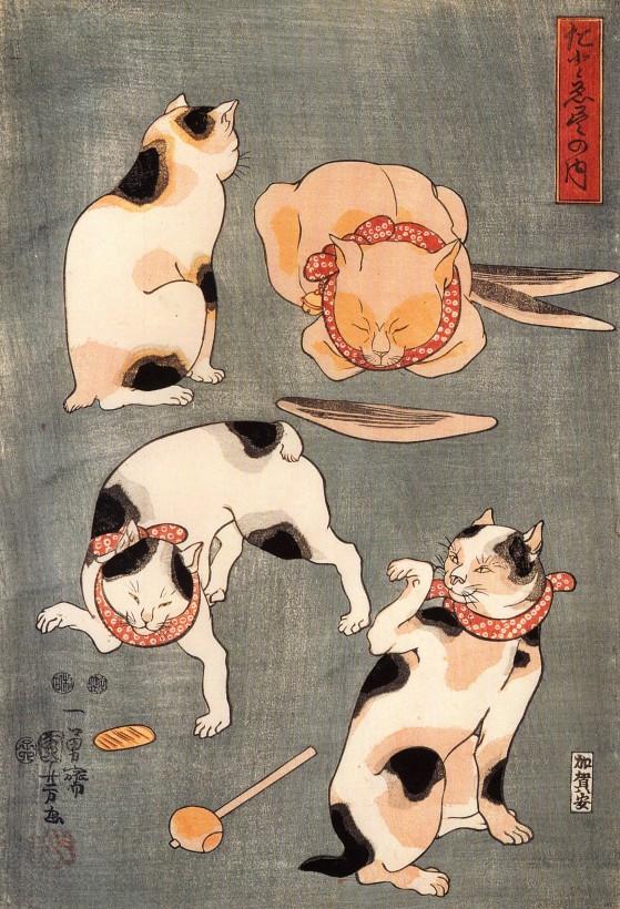 chat-japon-estampe-bois-Utagawa-Kuniyosh