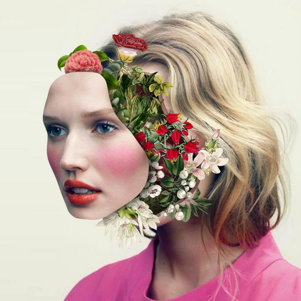 Collage Visage Fleur 05 La Boite Verte