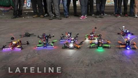 Une corse de drone à la première personne