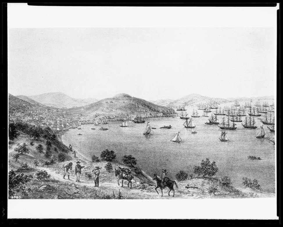Drawing_by_George_Baker_depicting_the_San_Francisco_bay_June_1849