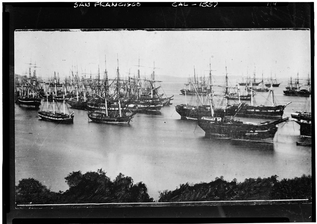 Ships abandoned in Yerba Buena Cove, San Francisco, during the California gold rush. (1849)