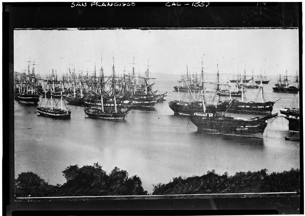 Ships abandoned in Yerba Buena Cove, San Francisco, during the California gold rush. (1849)