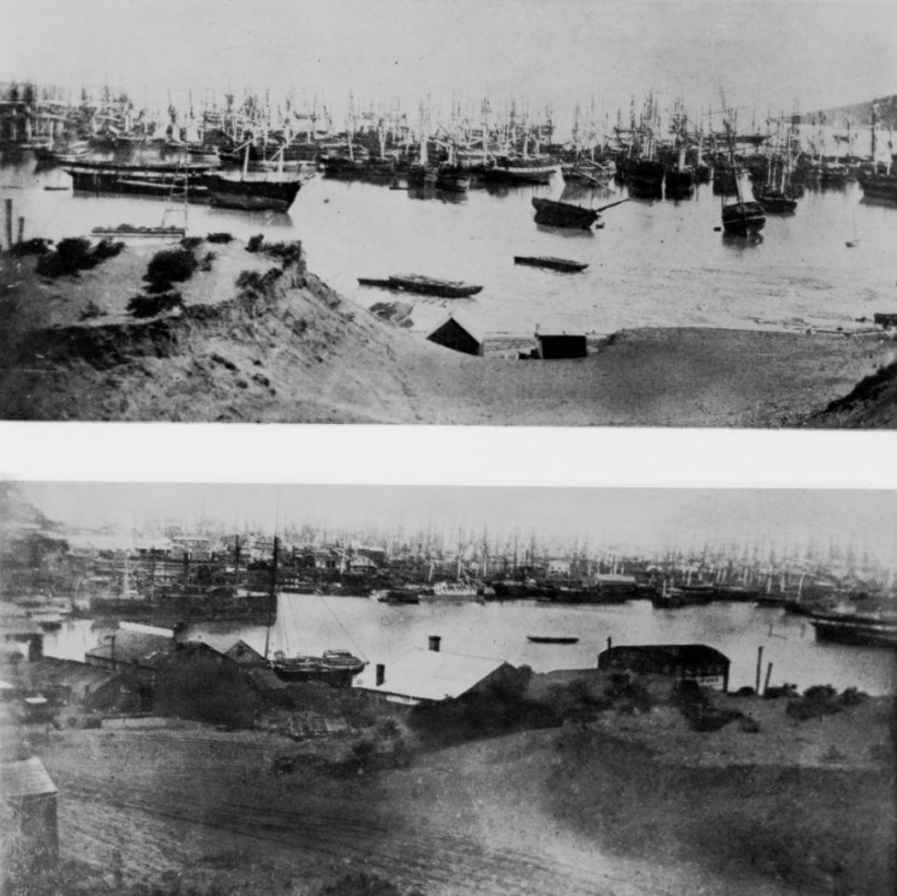 Two_views_of_deserted_ships_in_San_Francisco_harbor_during_the_Gold_Rush_of_1850