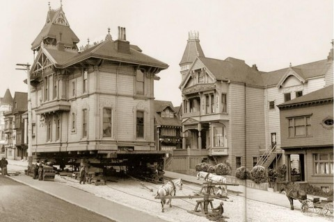 Moving a house using horses. San Francisco, 1908