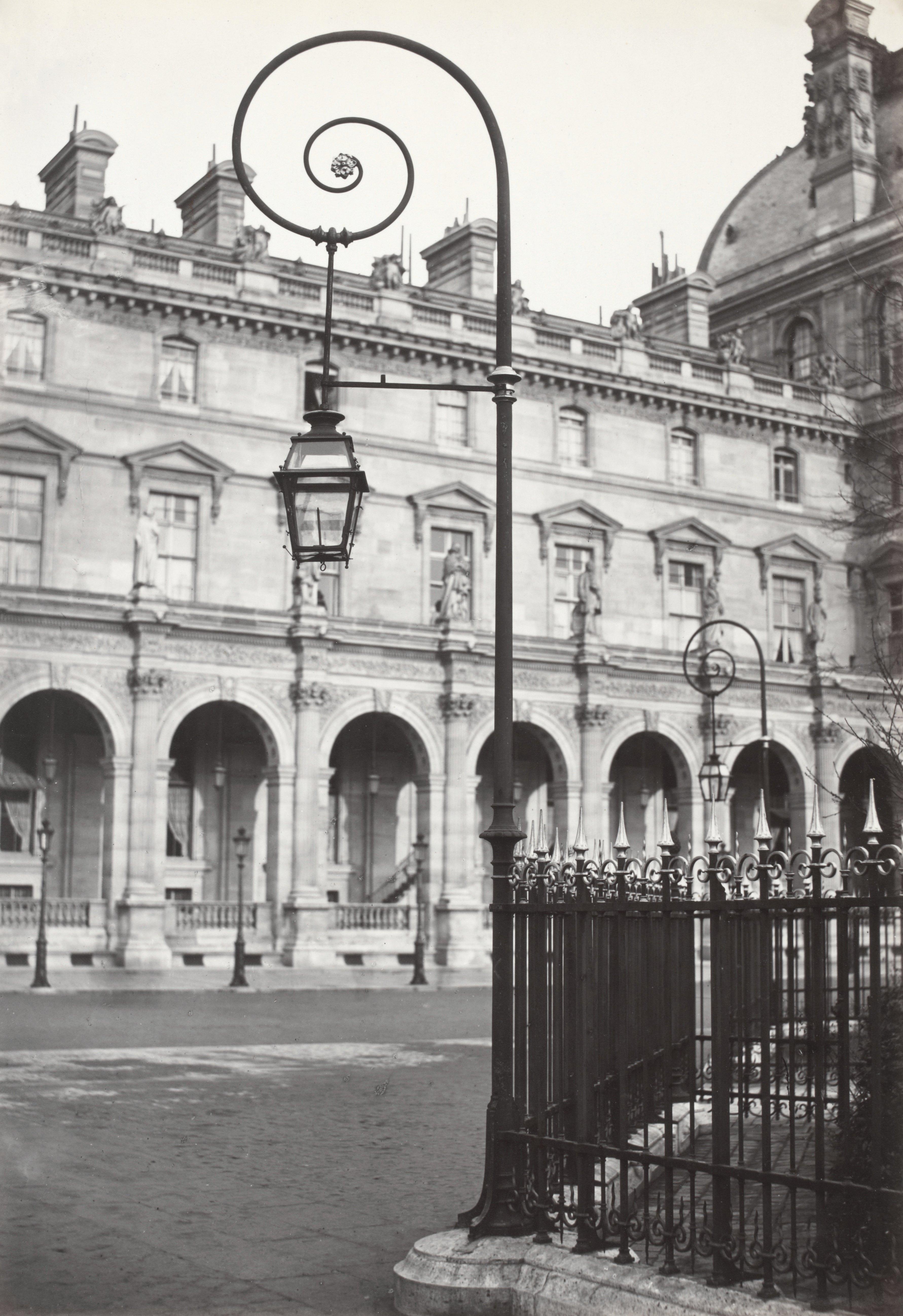 lampadaire paris charles marville louvre place napoleon iii 1878 la boite verte. Black Bedroom Furniture Sets. Home Design Ideas