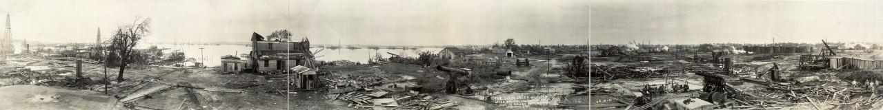 Le gisement de Goose Creek après un cyclone le 24 mai 1919