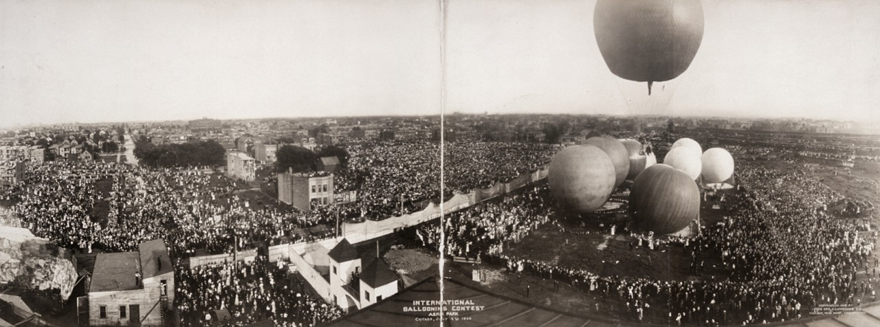 Des photos panoramiques anciennes de véhicules (Reportage photo) By Laboiteverte 22-International-Ballooning-Contest-Aero-Park-Chicago-July-4th-1908-1280x476