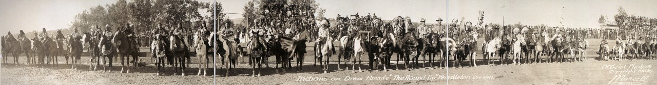 Indians-on-dress-parade-The-Round-Up-Pendleton-Ore-1911