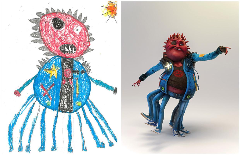 Des artistes recr ent des dessins d 39 enfants de monstres for Artiste dessin