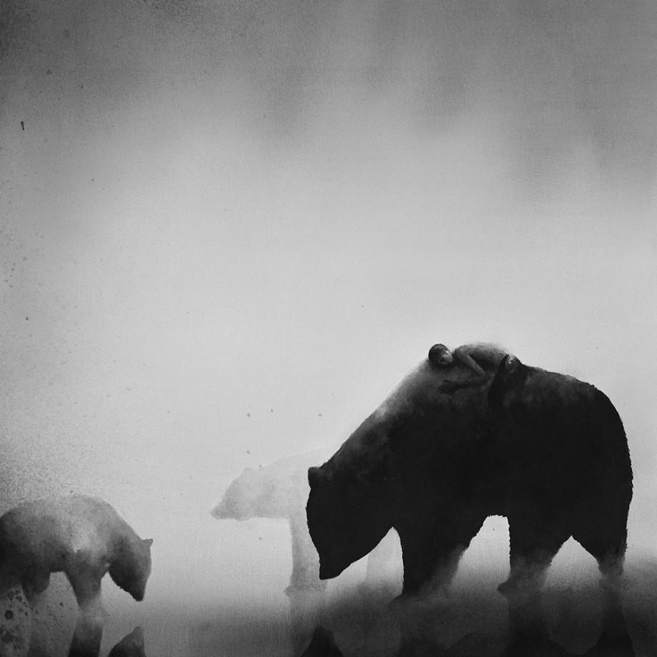 Très Des enfants et des animaux dans des aquarelles en noir et blanc MR87