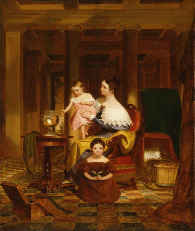 Le bocal à poisson rouge avec la famille de Morse - 1835