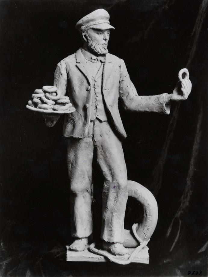 Une statue de Hanson Gregory, inventeur autoproclamé du trou du donut