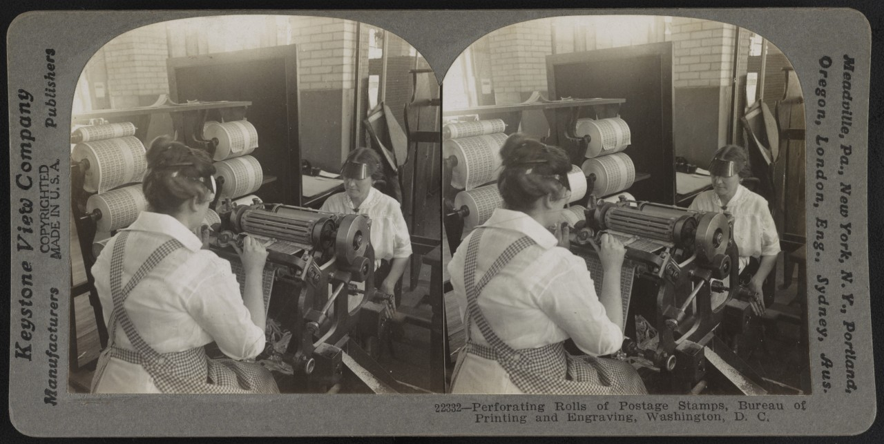 La perforation des timbres, Washington - 1917