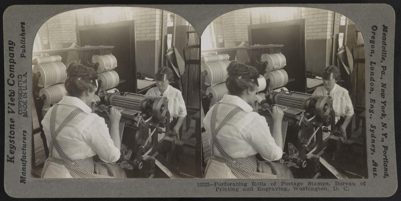 La perforation des timbres, Washington - 1917