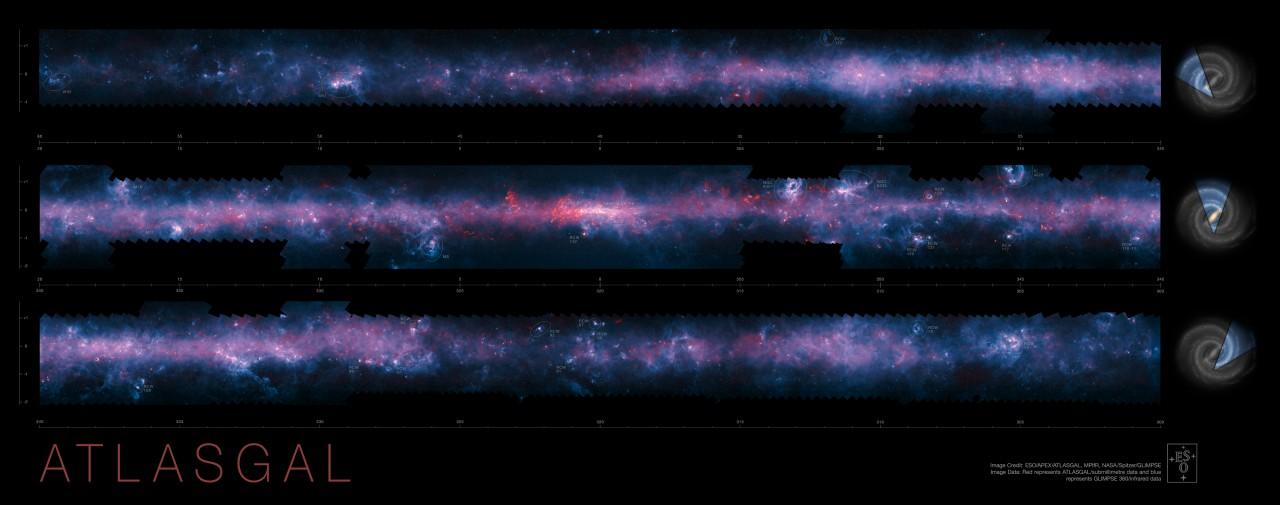 L'image complète de la voie lactée découpée en trois bandes