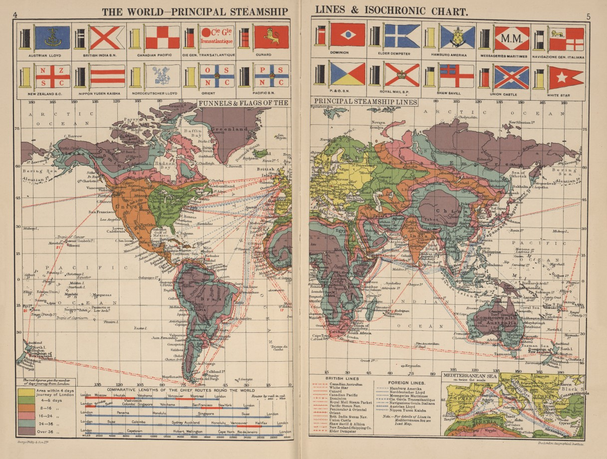 Une autre carte isochrone publiée en 1914.