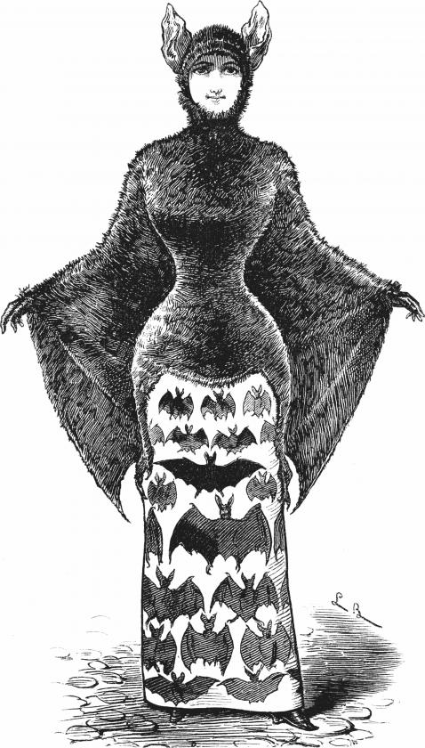 Une illustration d'une batwoman dans un journal satirique allemand en 1882