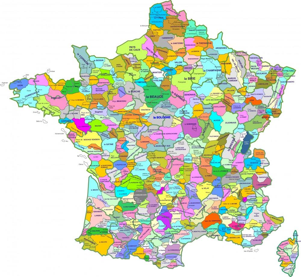 Une Carte Des Regions Naturelles De France