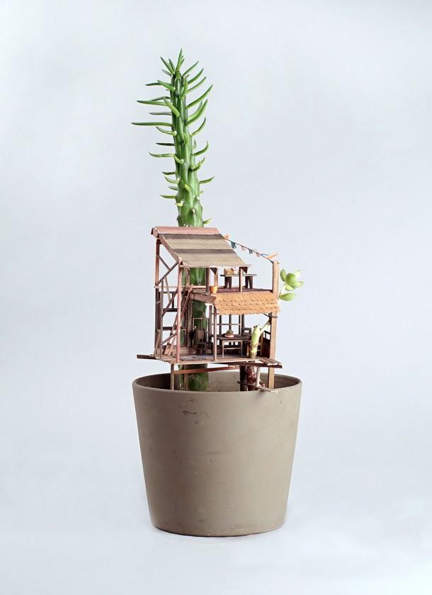 Des petites cabanes dans des plantes d 39 int rieur - Support de plantes d interieur ...