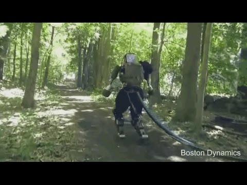 Un robot marche dans les bois