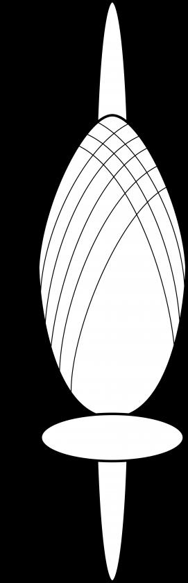 Le fuseau à la verticale et la fusaïole en dessous de la bobine de fil